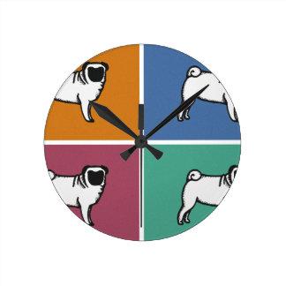 4 Pugs Wall Clock