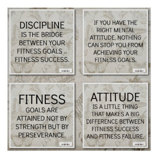 4 Quotes for Fitness Motivation Poster
