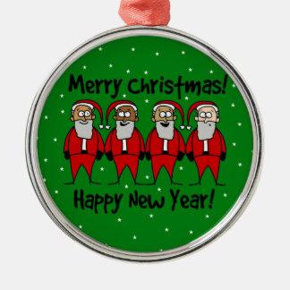 4 Santa Claus Silver-Colored Round Ornament