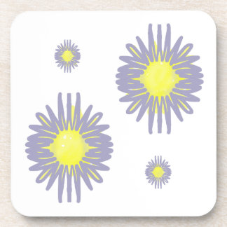 4 Soft blue & yellow flowers on white background Coaster
