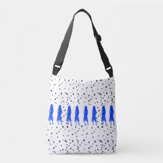 4 Spunky Female Grad Silhouttes in Bright Blue Crossbody Bag