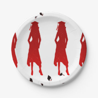 4 Spunky Female Grad Silhouttes in Bright Red 7 Inch Paper Plate