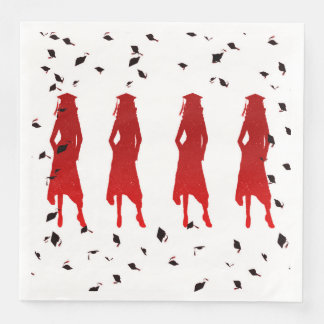 4 Spunky Female Grad Silhouttes in Bright Red Paper Napkin