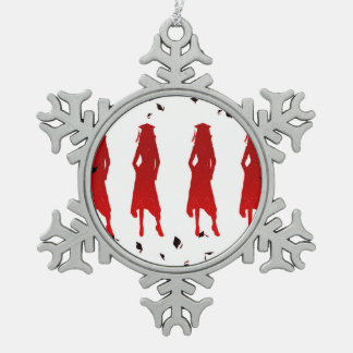 4 Spunky Female Grad Silhouttes in Bright Red Pewter Snowflake Ornament