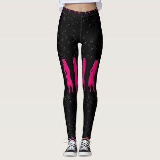 4 Spunky Grad Girl Silhouettes in Hot Pink Leggings