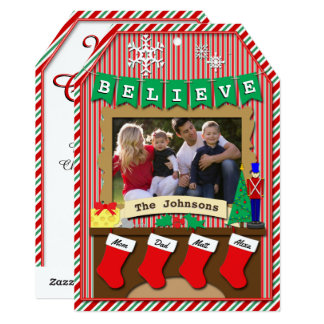 "4-Stocking Dated • BELIEVE • Merry Christmas 5"" X 7"" Invitation Card"