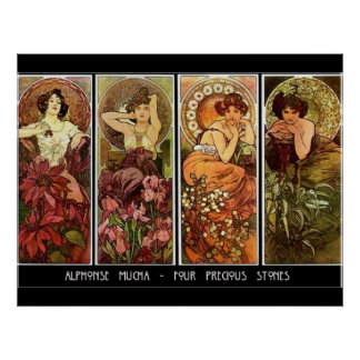 4 Stones Alphonse Mucha Print