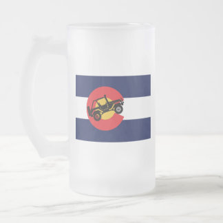 4-Wheeler-in-CO-Flag-2 Frosted Glass Beer Mug