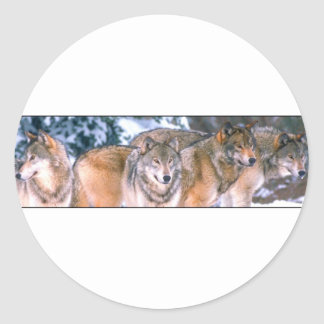 4 Wolves Classic Round Sticker