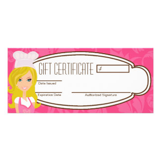 """4""""x9"""" Gift Certificate Blonde Baker Pink Cup Cakes Customized Rack Card"""