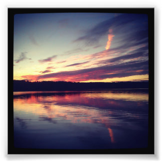 "4"" x 4"" Instagram Print: Sunset On a Lake Photo Print"