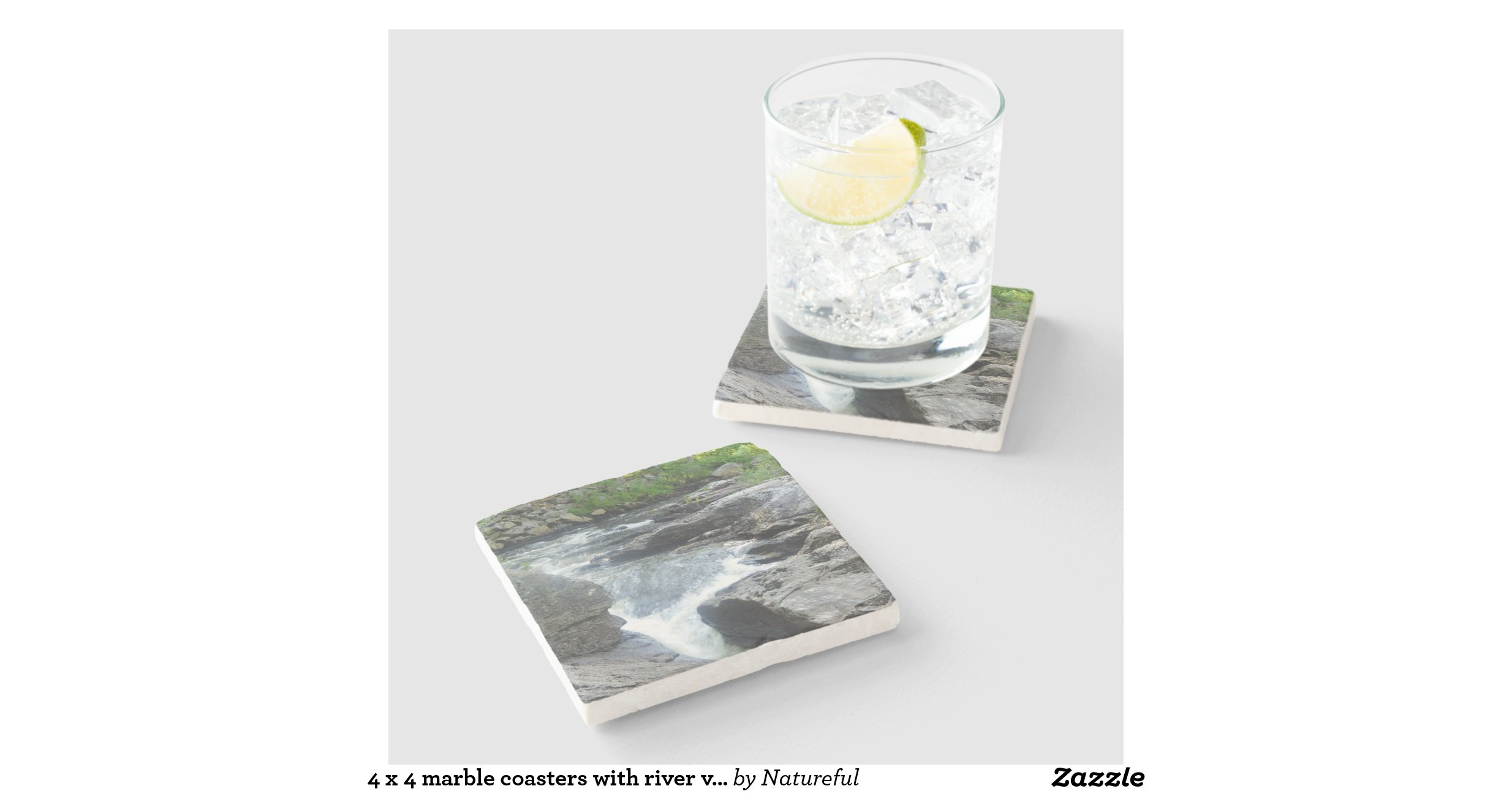 4 X 4 Marble Coasters With River View Stone Beverage