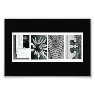 4 x 6 Love (Black) Alphabet Photo Letter Art