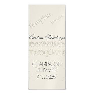 "4"" x 9.25"" Champagne Custom Wedding Invitation"