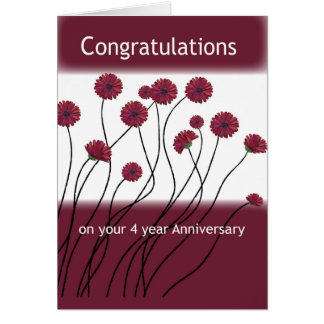 4 Year Anniversary 12 Step Recovery Flowers Card