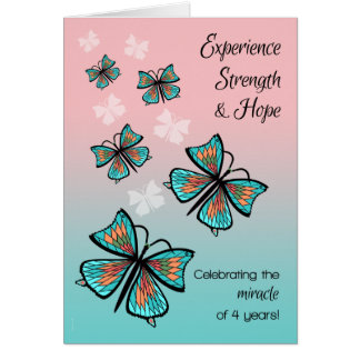 4 Year Clean Sober Recovery Birthday Butterflies Card