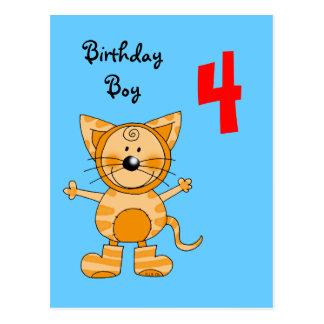 4 year old birthday boy postcard
