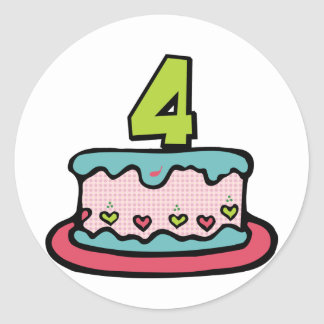 4 Year Old Birthday Cake Classic Round Sticker