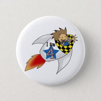 4 year old boy in a rocket 2 inch round button