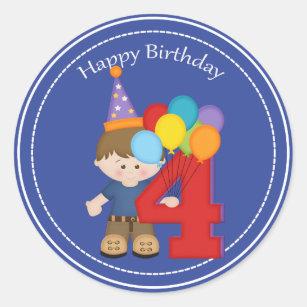 4 Year Old Boys Happy Birthday Sticker