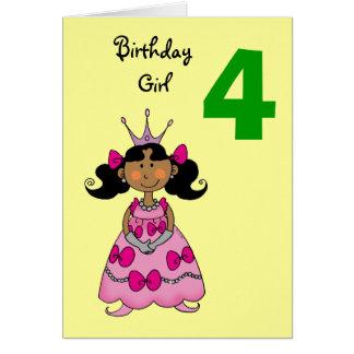 4 year old princess (black hair) card