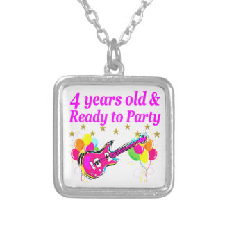 4 YEAR OLD ROCK STAR BIRTHDAY PARTY SILVER PLATED NECKLACE