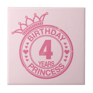 4 years - Birthday Princess - pink Ceramic Tiles
