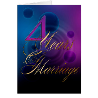 4 Years of Marriage  (anniversary card) Card