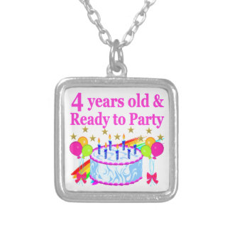 4 YEARS OLD AND READY TO PARTY BIRTHDAY GIRL SILVER PLATED NECKLACE