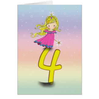 4 Years Princess Birthday Card