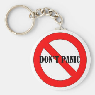 4DON'T PANIC BASIC ROUND BUTTON KEYCHAIN
