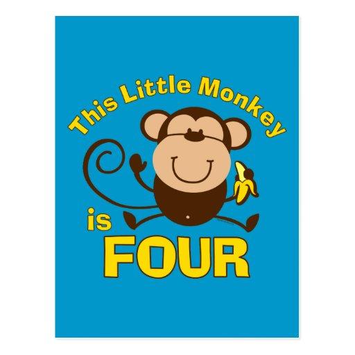 4ème garçon d'anniversaire de petit singe carte postale