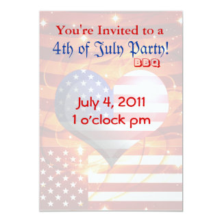 4ème Quatrième de partie de BBQ de juillet Invitations