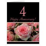 4èmes roses heureux d'anniversaire cartes de vœux