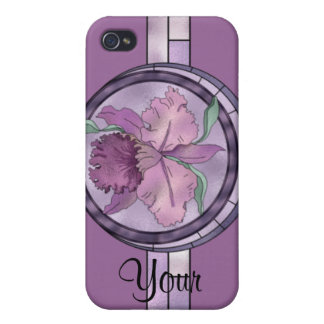 4s Stainglass Look PURPLE ORCHID iPhone 4 Cover