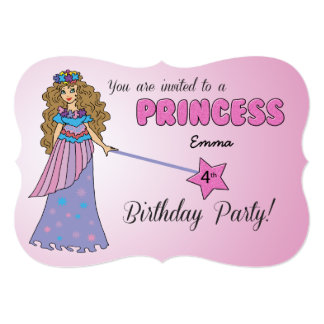 4th Bday Invitation Pink Princess w/ Sparkly Wand