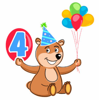 4th Birthday Bear with Balloons Acrylic Cut Outs