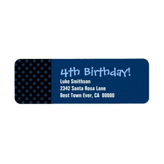 4th Birthday Black and Blue Polka Dots Return Address Label