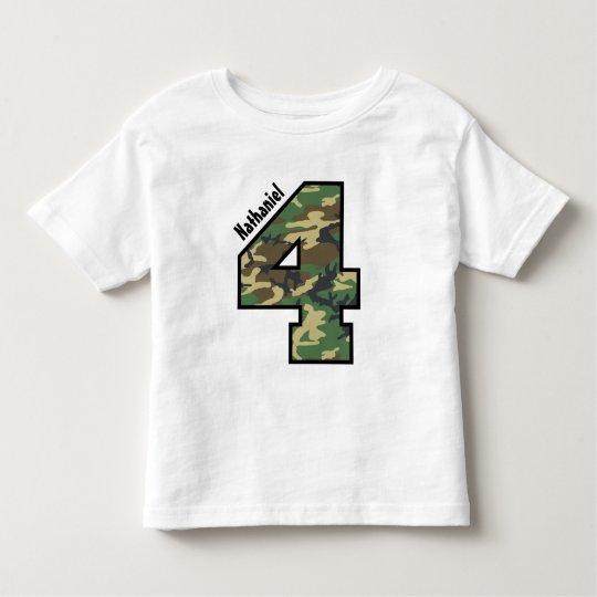 4th Birthday Boy Camo Four Year Custom Name V007D Toddler T-shirt