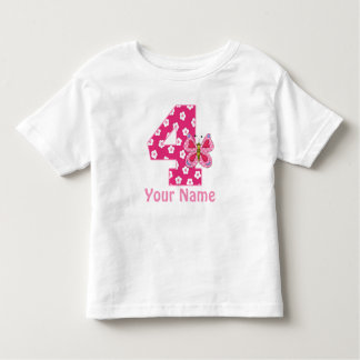 4th Birthday Butterfly Girls Personalized Shirt