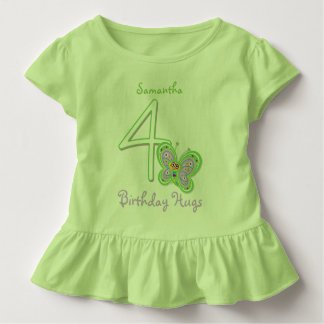 4th Birthday Butterfly Hugs Custom Name Toddler T-shirt