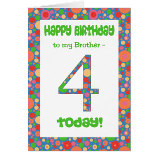 4th Birthday Card for Brother, Bright and Bubbly