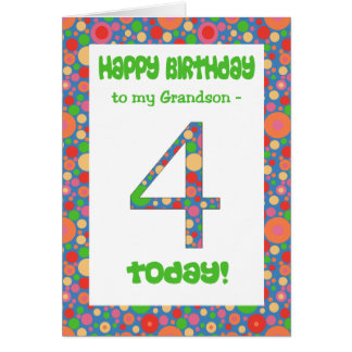 4th Birthday Card for Grandson, Bright and Bubbly