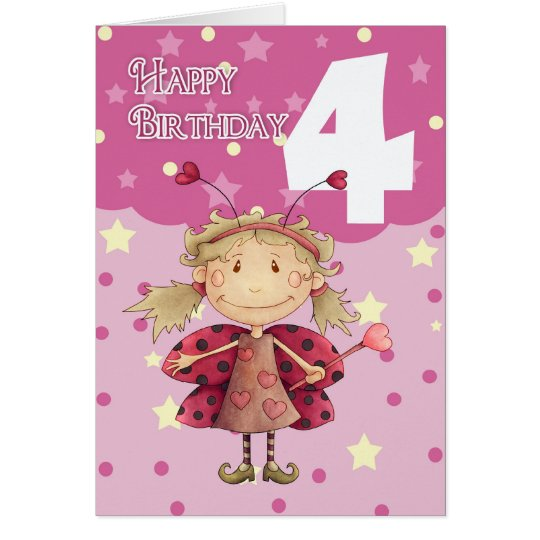 4th birthday card with cute ladybug fairy