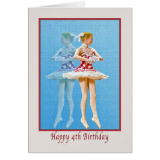 4th Birthday Card with Twirling Ballerina