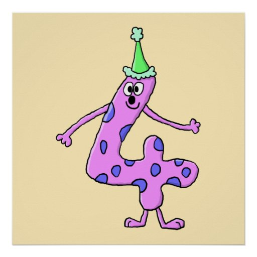 4th Birthday Cartoon Character. Posters