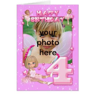 4th birthday customizable photo birthday card, card