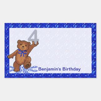 4th Birthday Dancing Bear Scrapbook Sticker