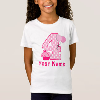 4th Birthday Girl Cupcake Personalized T-shirt