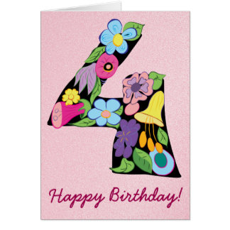 4th Birthday Girl Floral Colorful Beautiful Pink Card